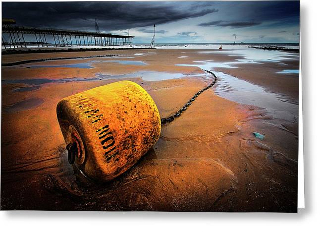 Buoy Greeting Cards - Lonely Yellow Buoy Greeting Card by Meirion Matthias