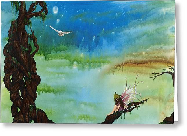 Deborah Ellingwood Greeting Cards - Lonesome Fairy Greeting Card by Deborah Ellingwood