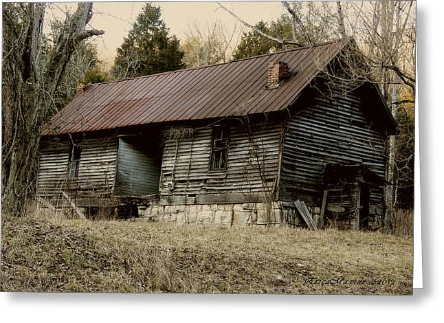 Abandoned School House. Greeting Cards - Long Ago Greeting Card by EricaMaxine  Price