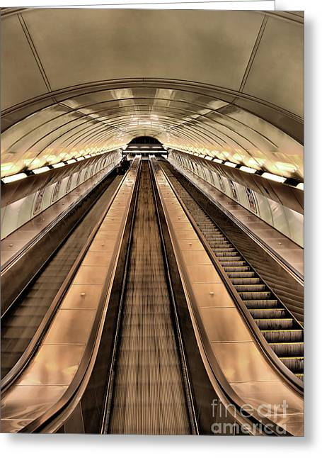 Tschechien Greeting Cards - long and fast escalator in Prague Greeting Card by Joerg Lingnau