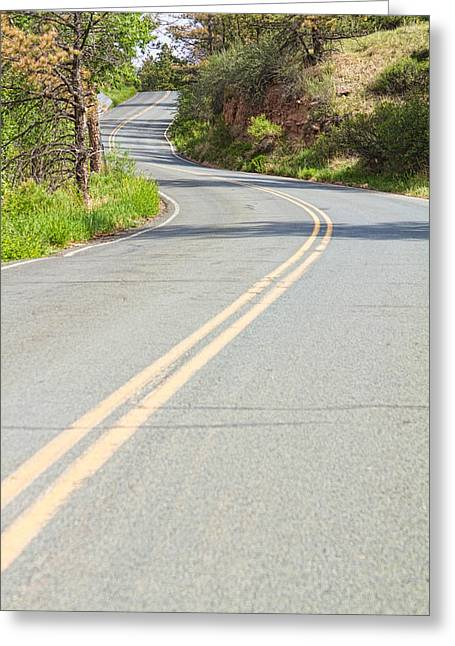 Yellow Line Greeting Cards - Long and Winding Road Greeting Card by James BO  Insogna