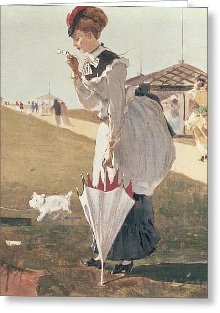 Winslow Homer Greeting Cards - Long Branch Greeting Card by Winslow Homer