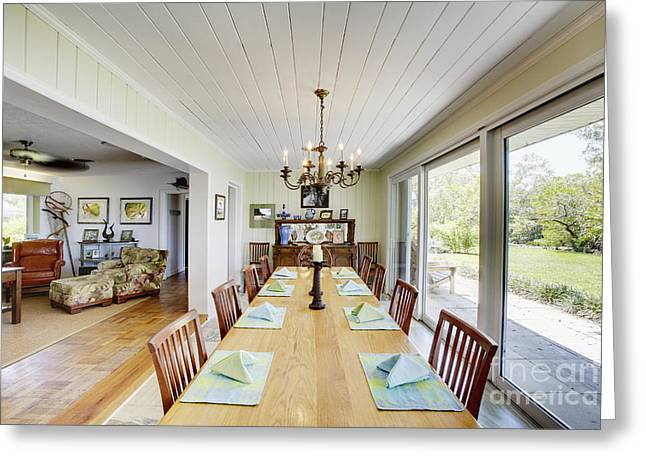 Centerpiece Greeting Cards - Long Dining Room Table Greeting Card by Skip Nall