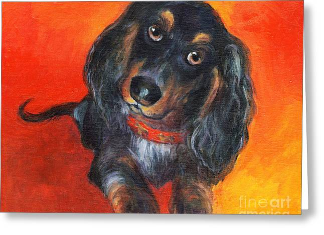 Whimsical Dog Art Greeting Cards - Long haired Dachshund dog puppy Portrait painting Greeting Card by Svetlana Novikova