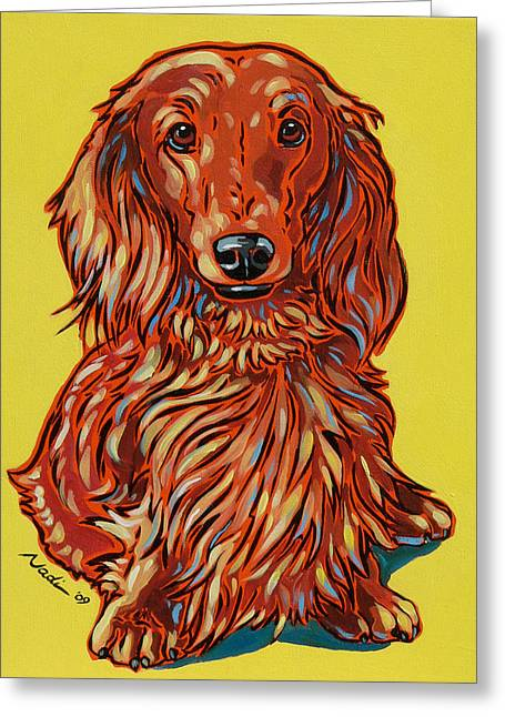 Nadi Spencer Paintings Greeting Cards - Long Haired Dachshund Greeting Card by Nadi Spencer