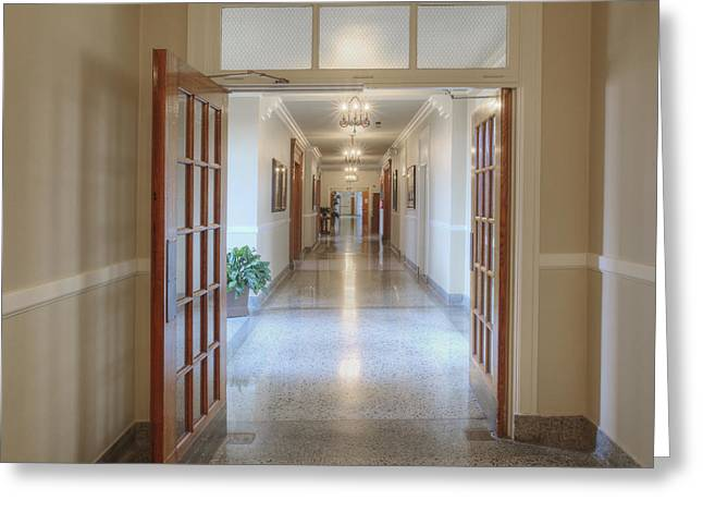 Residential Structure Greeting Cards - Long Hallway In Historic Building Greeting Card by Douglas Orton