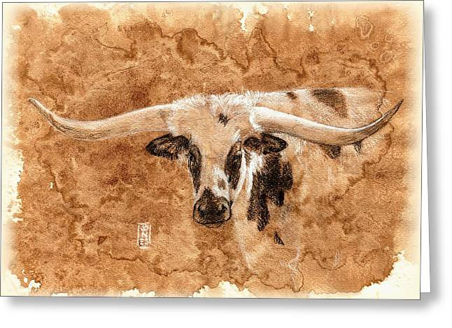 Long Horns Greeting Card by Debra Jones