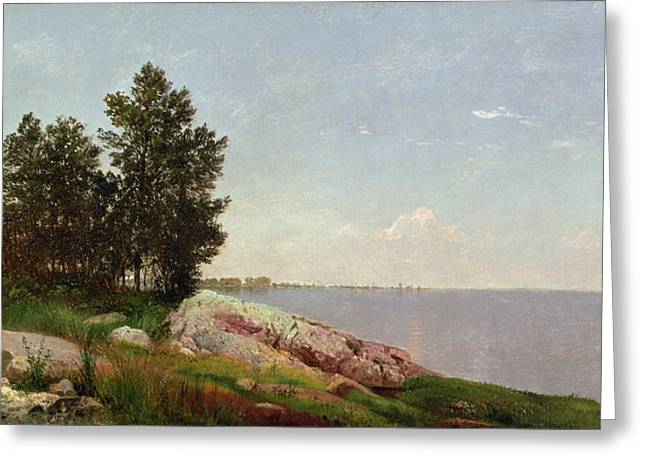 Long Island Sound Greeting Cards - Long Island Sound at Darien Greeting Card by John Frederick Kensett