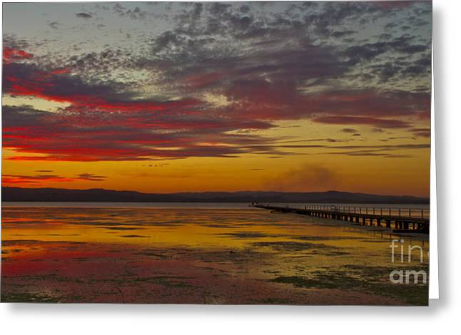 Bryan Freeman Greeting Cards - Long Jetty On Fire Greeting Card by Bryan Freeman