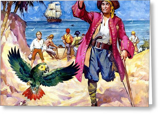 Ashore Greeting Cards - Long John Silver and his Parrot Greeting Card by James McConnell