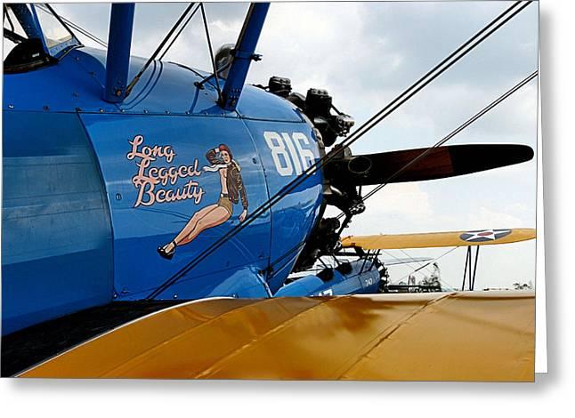 Plane Nose Greeting Cards - Long Legged Beauty Greeting Card by DJ Florek