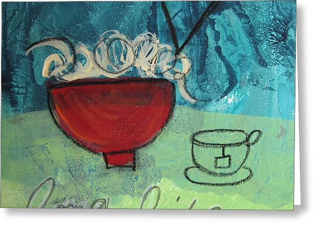 Noodles Mixed Media Greeting Cards - Long Life Noodles Greeting Card by Linda Woods