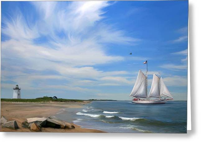 Schooner Mixed Media Greeting Cards - Long Point Lighthouse Greeting Card by Sue  Brehant