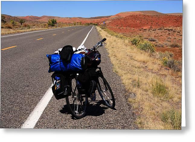 Bike Trip Greeting Cards - Long Road Ahead Greeting Card by Aidan Moran