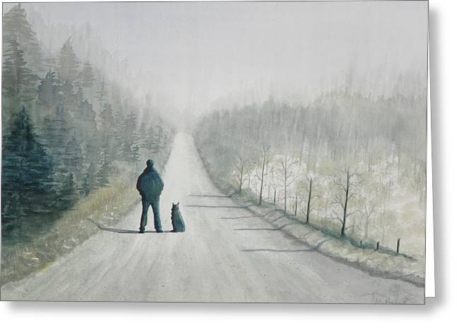 Winter Roads Greeting Cards - Long Road Home Greeting Card by Ally Benbrook