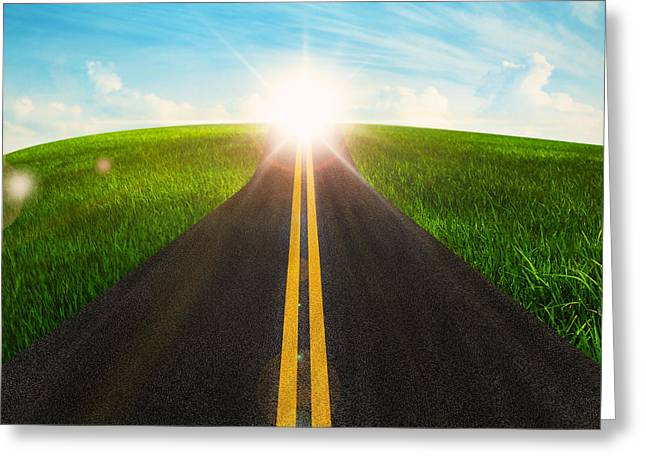 Ahead Greeting Cards - Long Road In Beautiful Nature  Greeting Card by Setsiri Silapasuwanchai