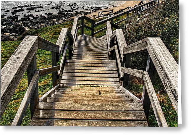 Macquarie Greeting Cards - Long Stairway to Beach Greeting Card by Kaye Menner