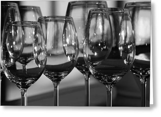 Wine Reflection Art Greeting Cards - Long Stem Greeting Card by Deborah Hall Barry