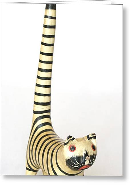 Antique Straight Pattern Greeting Cards - Long Tailed Feline Greeting Card by Kantilal Patel