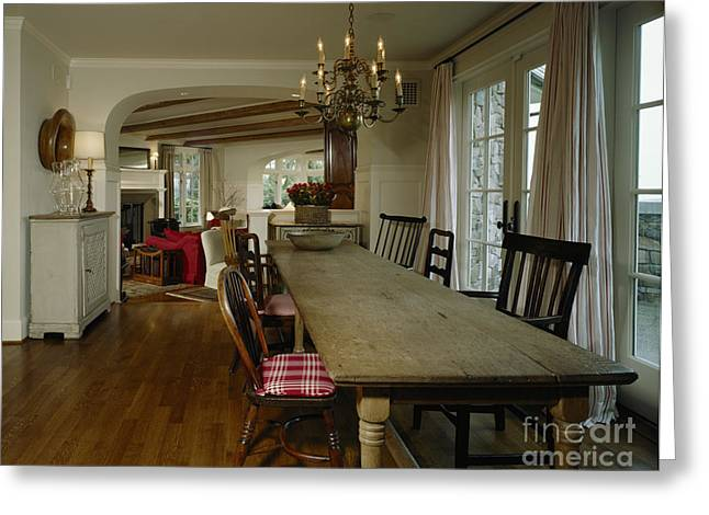 French Doors Greeting Cards - Long Weathered Rustic Table Greeting Card by Robert Pisano