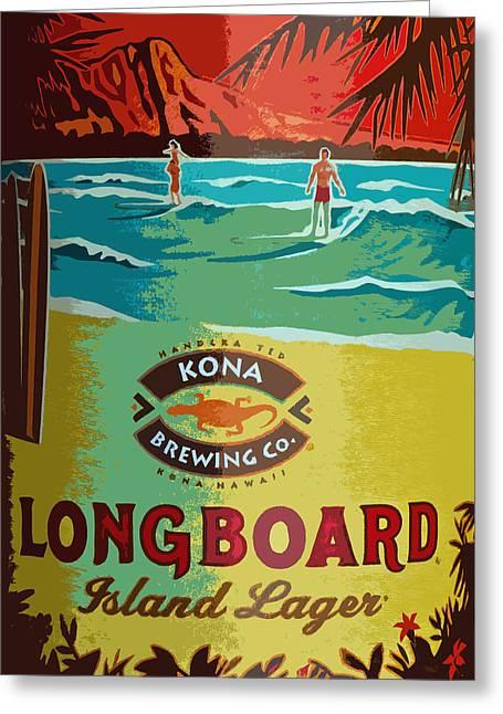 Kona Brewing Greeting Cards - Longboard Lager Greeting Card by Bill Owen