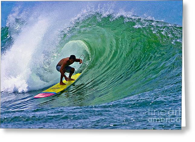 Surfing Art Greeting Cards - Longboarder in the Tube Greeting Card by Paul Topp