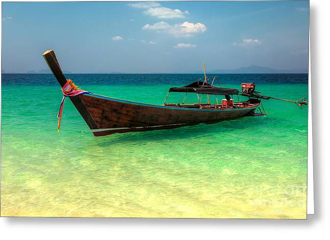 Coastline Flowers Greeting Cards - Longboat Thailand Greeting Card by Adrian Evans