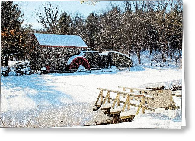 Grist Mill Digital Art Greeting Cards - Longfellows Grist Mill Greeting Card by Frank Garciarubio