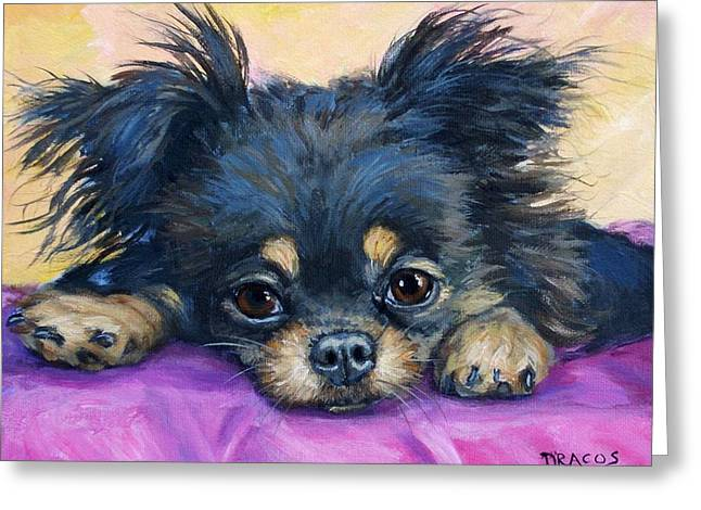 Chihuahua Art Greeting Cards - Longhaired Chihuahua Puppy Black and Tan Greeting Card by Dottie Dracos