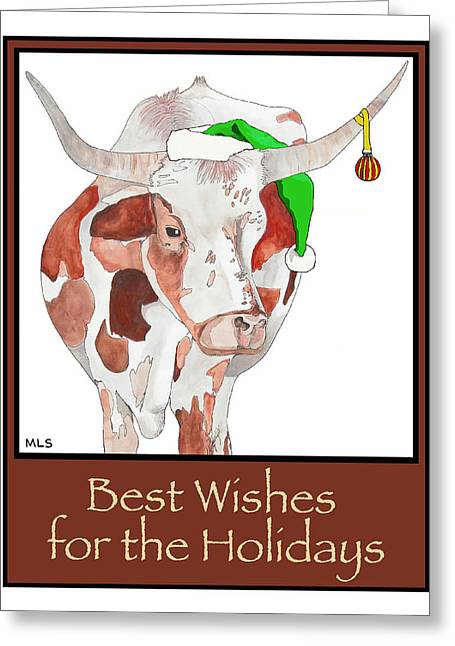 Steer Drawings Greeting Cards - Longhorn Christmas Greeting Card by Marla Saville