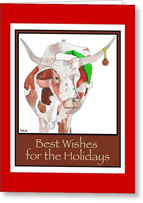 Longhorn Christmas Greeting Card by Marla Saville