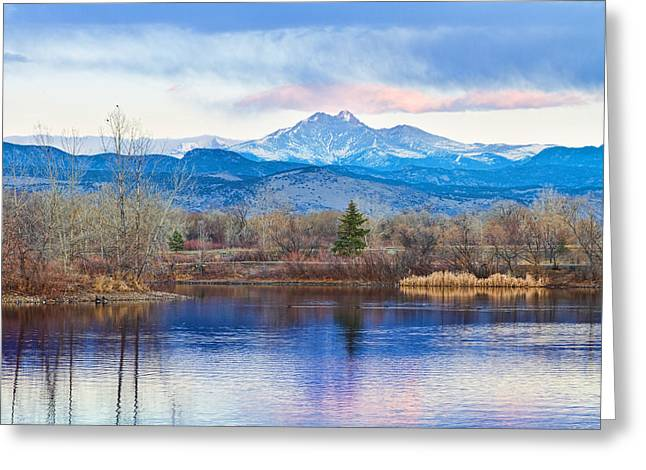 Longs Peak And Mt Meeker Sunrise At Golden Ponds Greeting Card by James BO  Insogna