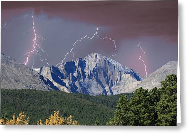 Colorado Nature Greeting Cards - Longs Peak Lightning Storm Fine Art Photography Print Greeting Card by James BO  Insogna