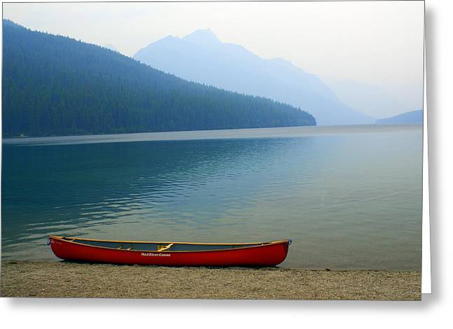 Marty Koch Greeting Cards - Lonly Canoe Greeting Card by Marty Koch