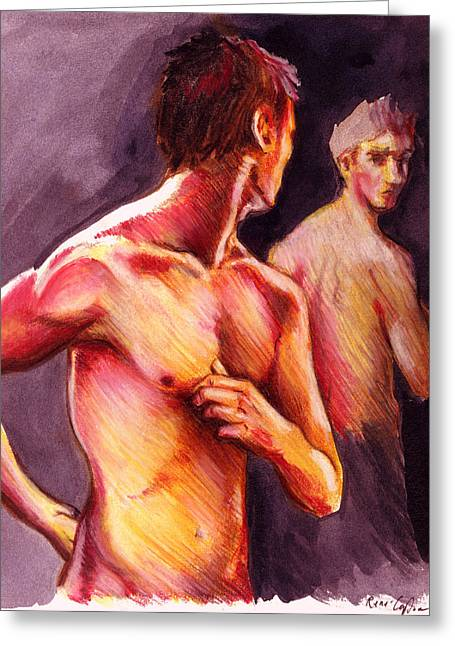 Figure Drawing Greeting Cards - Look Over Your Shoulder Greeting Card by Rene Capone