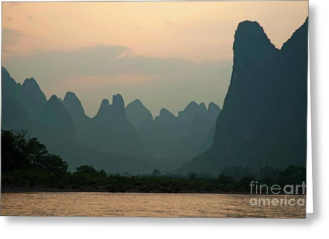 Sami Sarkis Greeting Cards - Looking across the Li Jiang River at the limestone mountain peaks between Xinping and Yangshuo Greeting Card by Sami Sarkis
