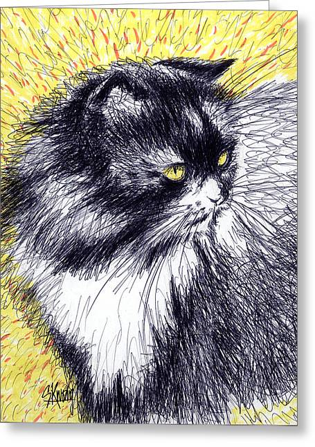 Cat On Back Greeting Cards - Looking Back Greeting Card by Stan Kwong