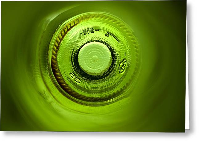 Color Green Greeting Cards - Looking deep into the bottle Greeting Card by Frank Tschakert