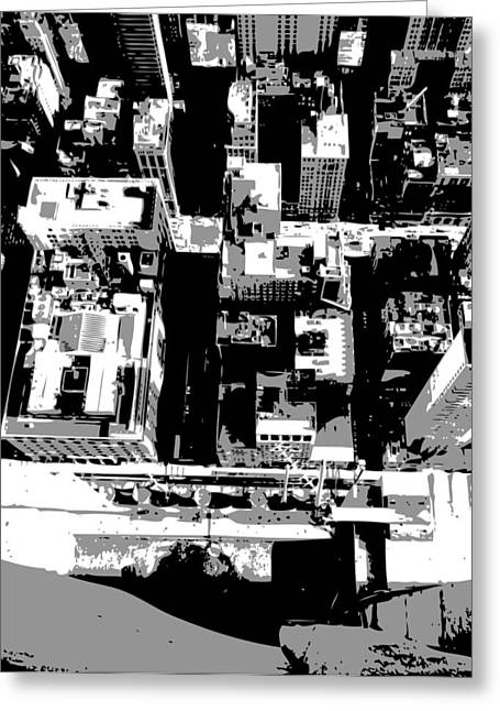 Looking Down In Nycthe Big Apple Greeting Cards - Looking Down BW3 Greeting Card by Scott Kelley
