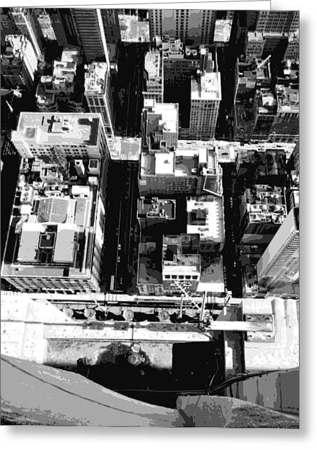 Looking Down In Nycthe Big Apple Greeting Cards - Looking Down BW8 Greeting Card by Scott Kelley