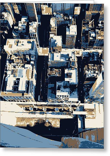 Looking Down In Nycthe Big Apple Greeting Cards - Looking Down Color 6 Greeting Card by Scott Kelley