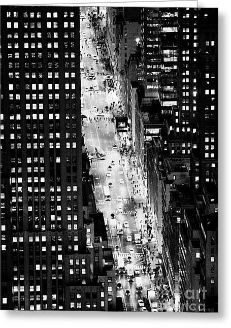 5th Ave Greeting Cards - Looking Down On 5th Avenue New York City With Different Night Time Lighting Colours And Conditions Greeting Card by Joe Fox