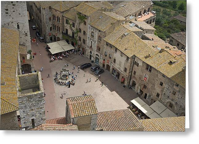 Italian Market Greeting Cards - Looking Down On The Red Tile Rooftops Greeting Card by Keenpress