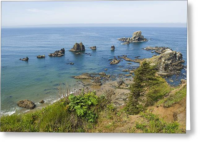 Cliffs Over Ocean Greeting Cards - Looking Down On The Rocks Greeting Card by James Forte