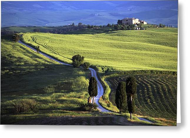 Tuscan Hills Greeting Cards - Looking Down Road At Dusk To Old Greeting Card by Axiom Photographic