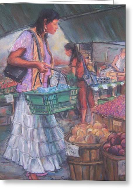 Farmer Pastels Greeting Cards - Looking Fine at the Farmers Market Greeting Card by Diane Caudle