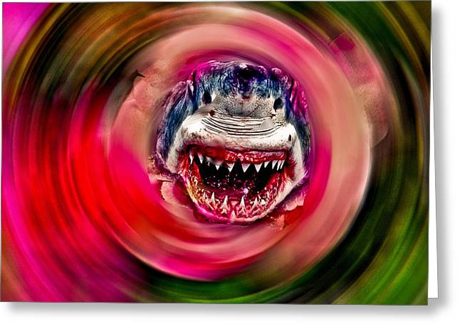 White Shark Mixed Media Greeting Cards - Looking for Lunch Greeting Card by Dennis Dugan