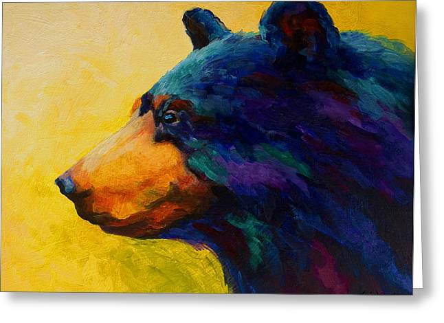 Wild West Greeting Cards - Looking On II - Black Bear Greeting Card by Marion Rose