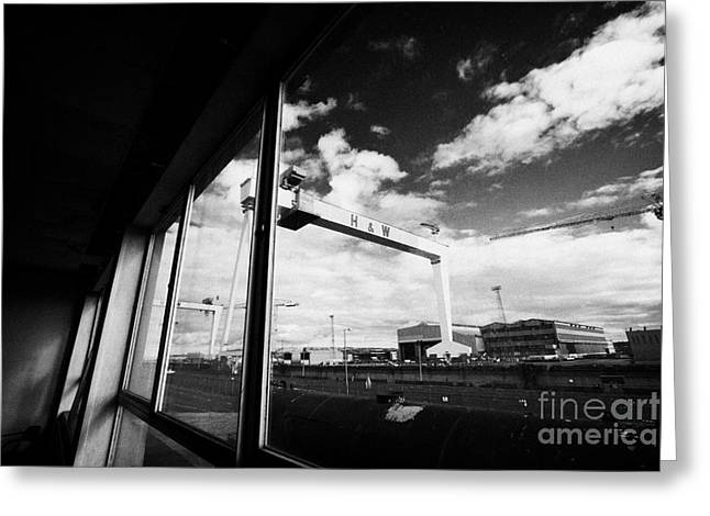 Wolff Greeting Cards - Looking Out At Harland And Wolff Shipyard Cranes From Inside An Old Factory Warehouse Unit Belfast Greeting Card by Joe Fox