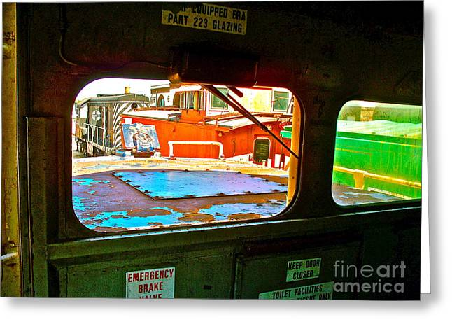 Looking Out The Engine Cab Greeting Card by Chuck Taylor